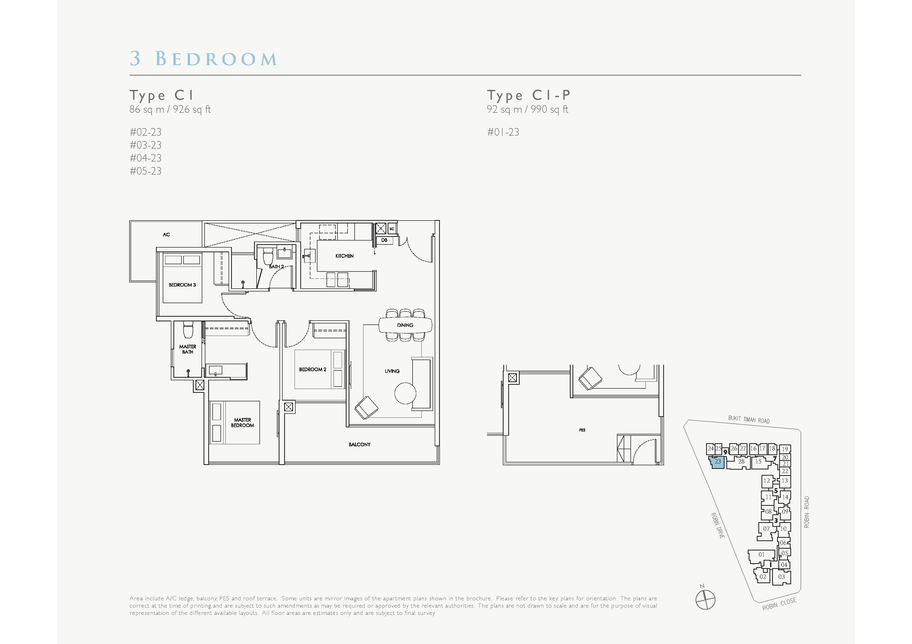 Robin Residences 3 Bedroom Floor Plans Type C1, C1-P