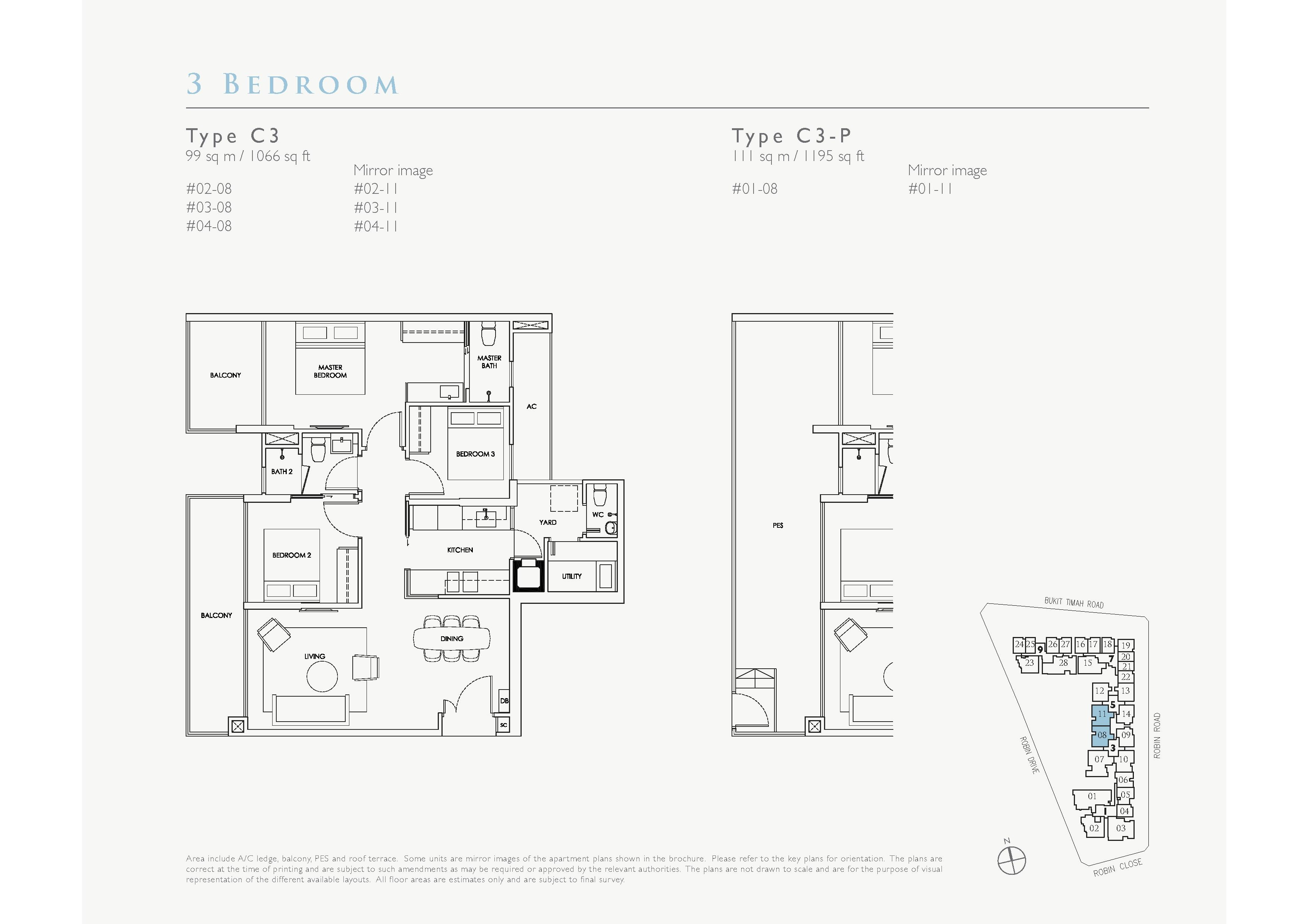 Robin Residences 3 Bedroom Floor Plans Type C3, C3-P