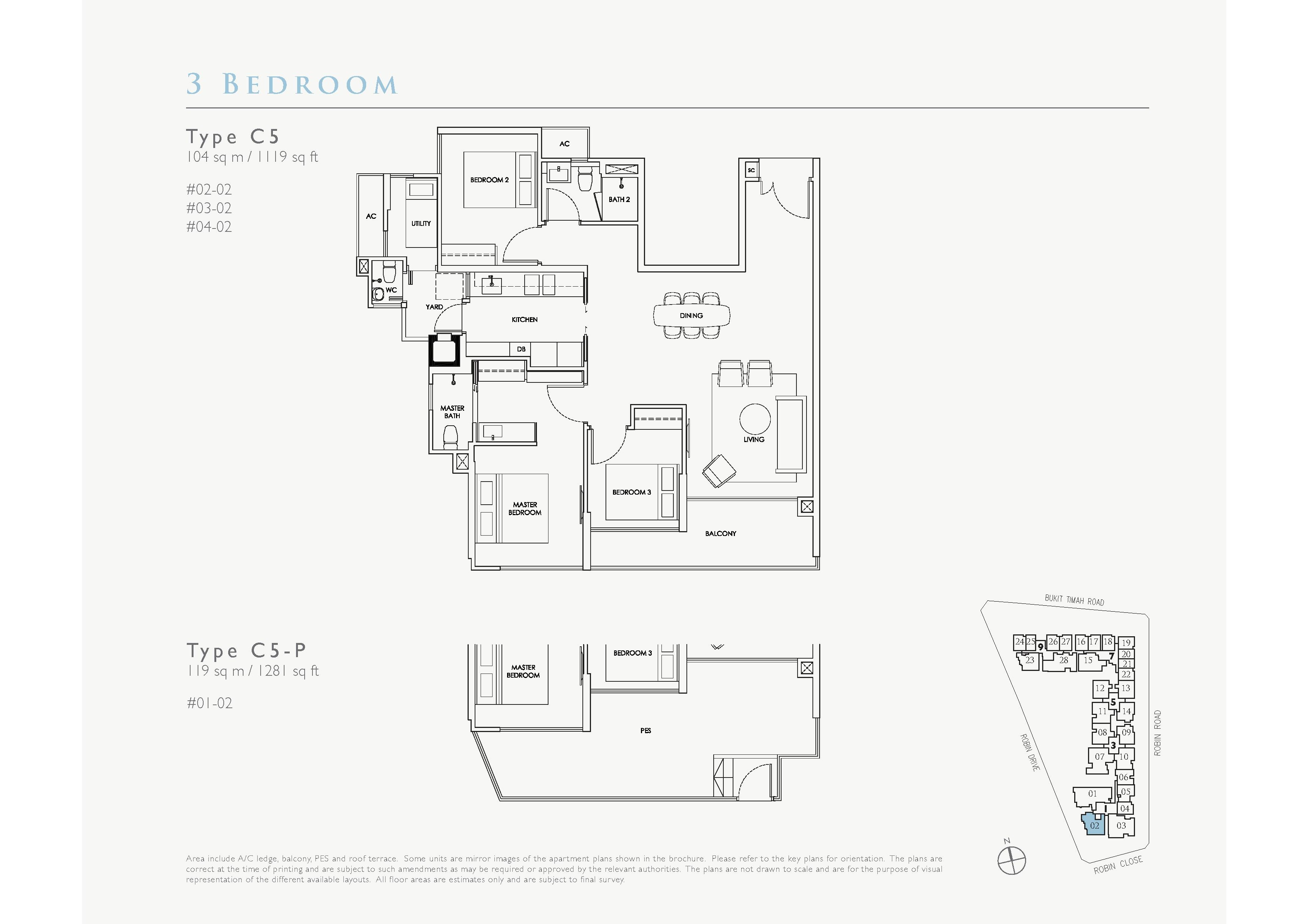 Robin Residences 3 Bedroom Floor Plans Type C5, C5-P