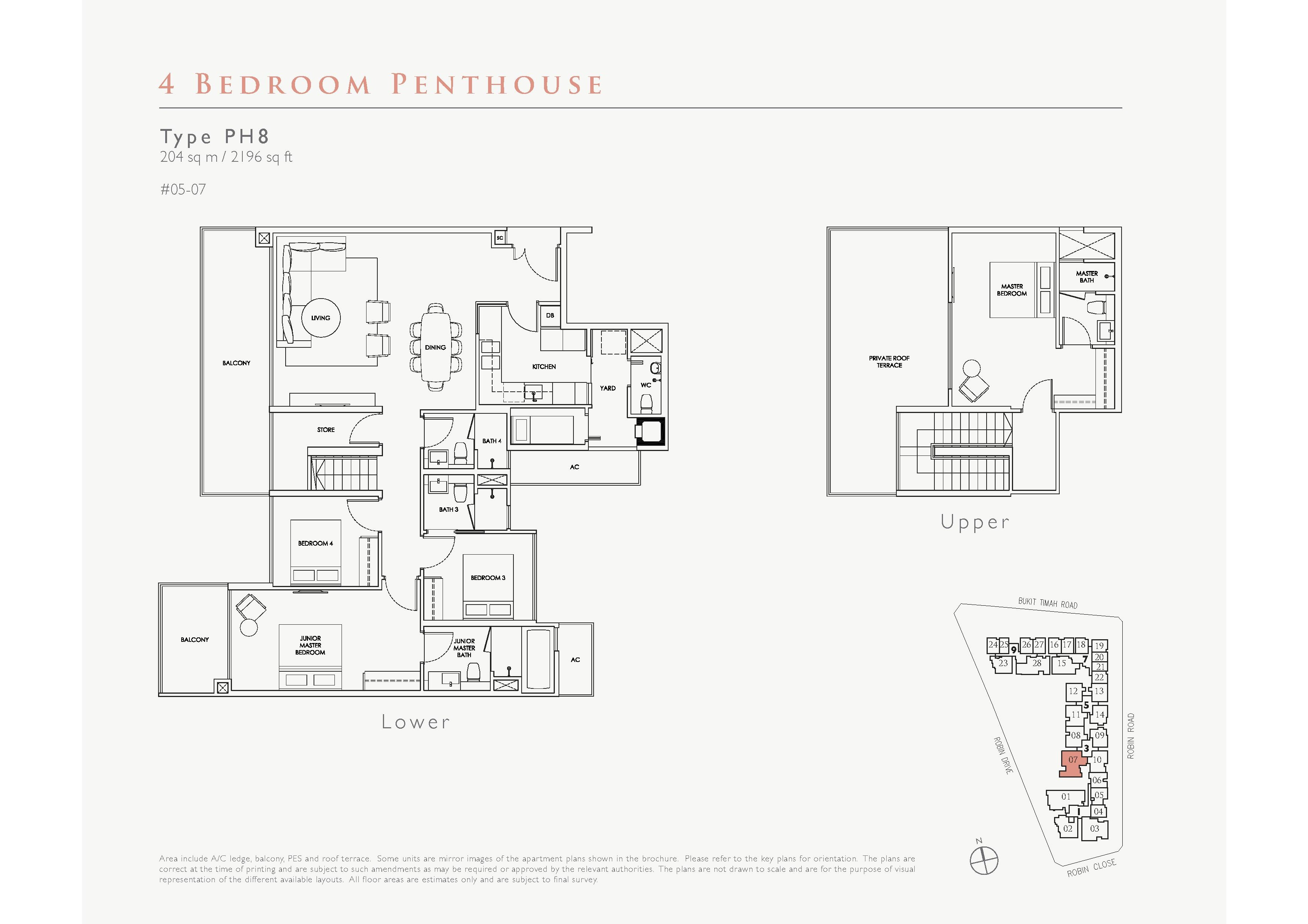 Robin Residences 4 Bedroom Penthouse Floor Plans Type PH8
