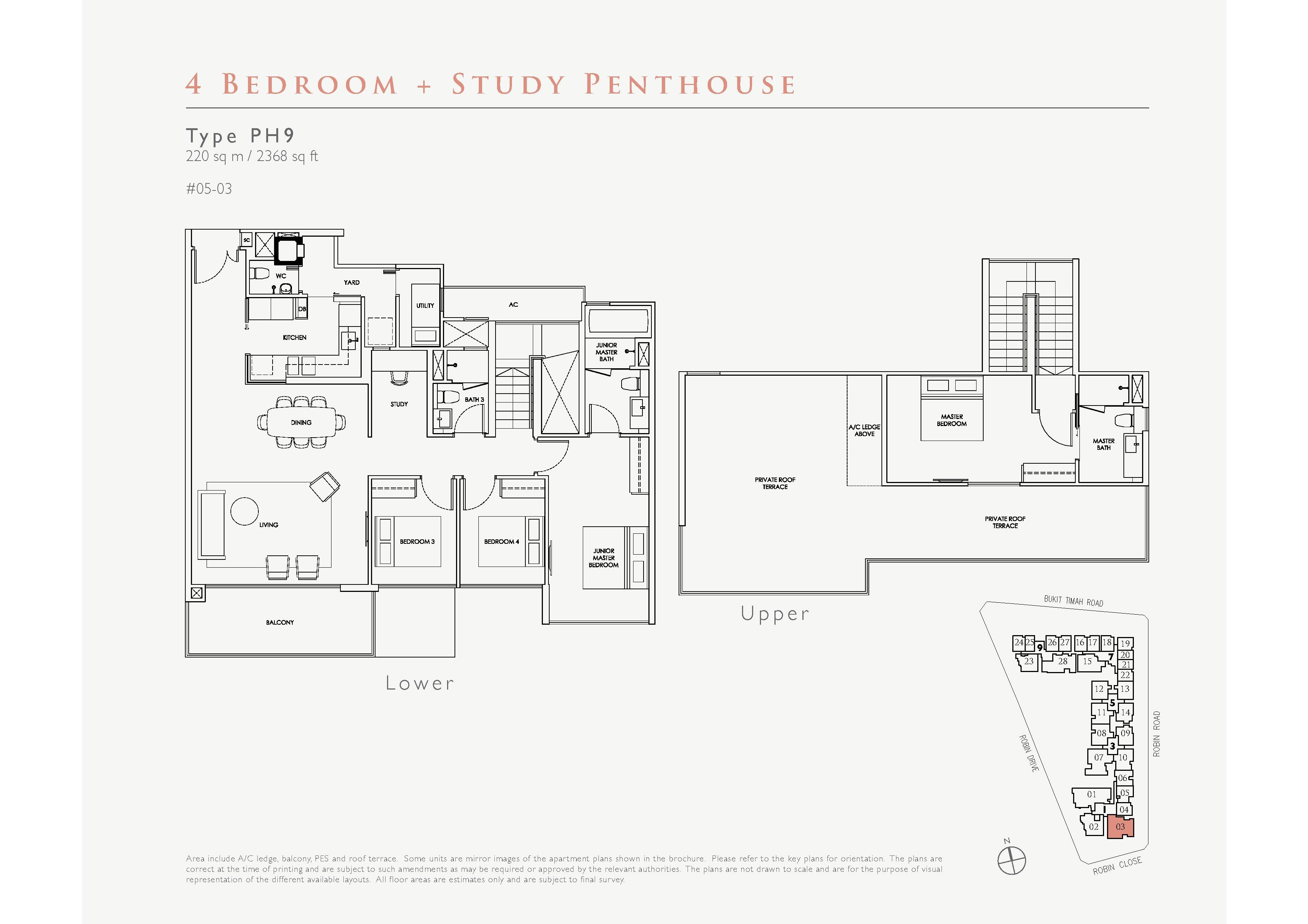 Robin Residences 4 Bedroom + Study Penthouse Floor Plans Type PH9