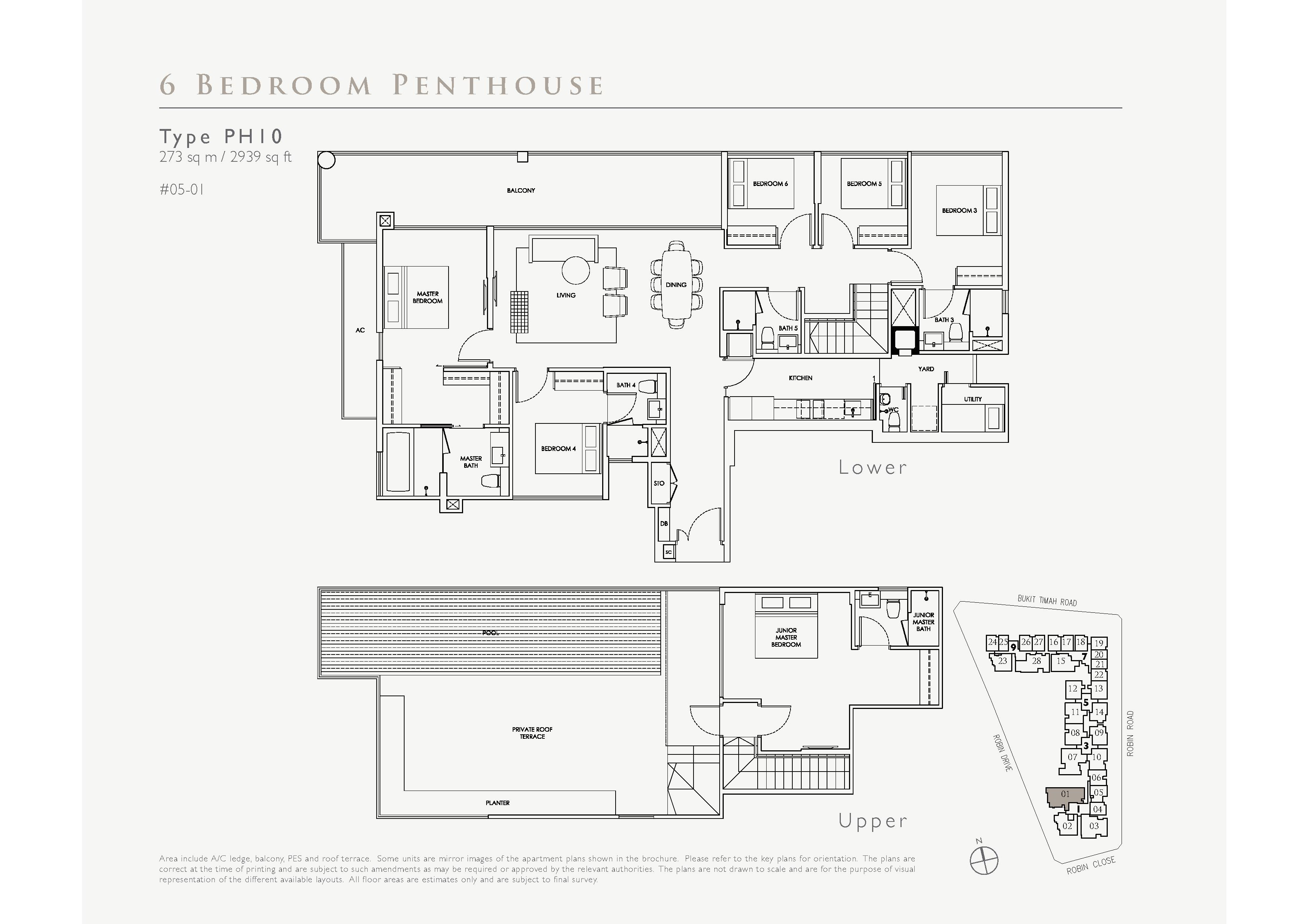 Robin Residences 6 Bedroom Penthouse Floor Plans Type PH10