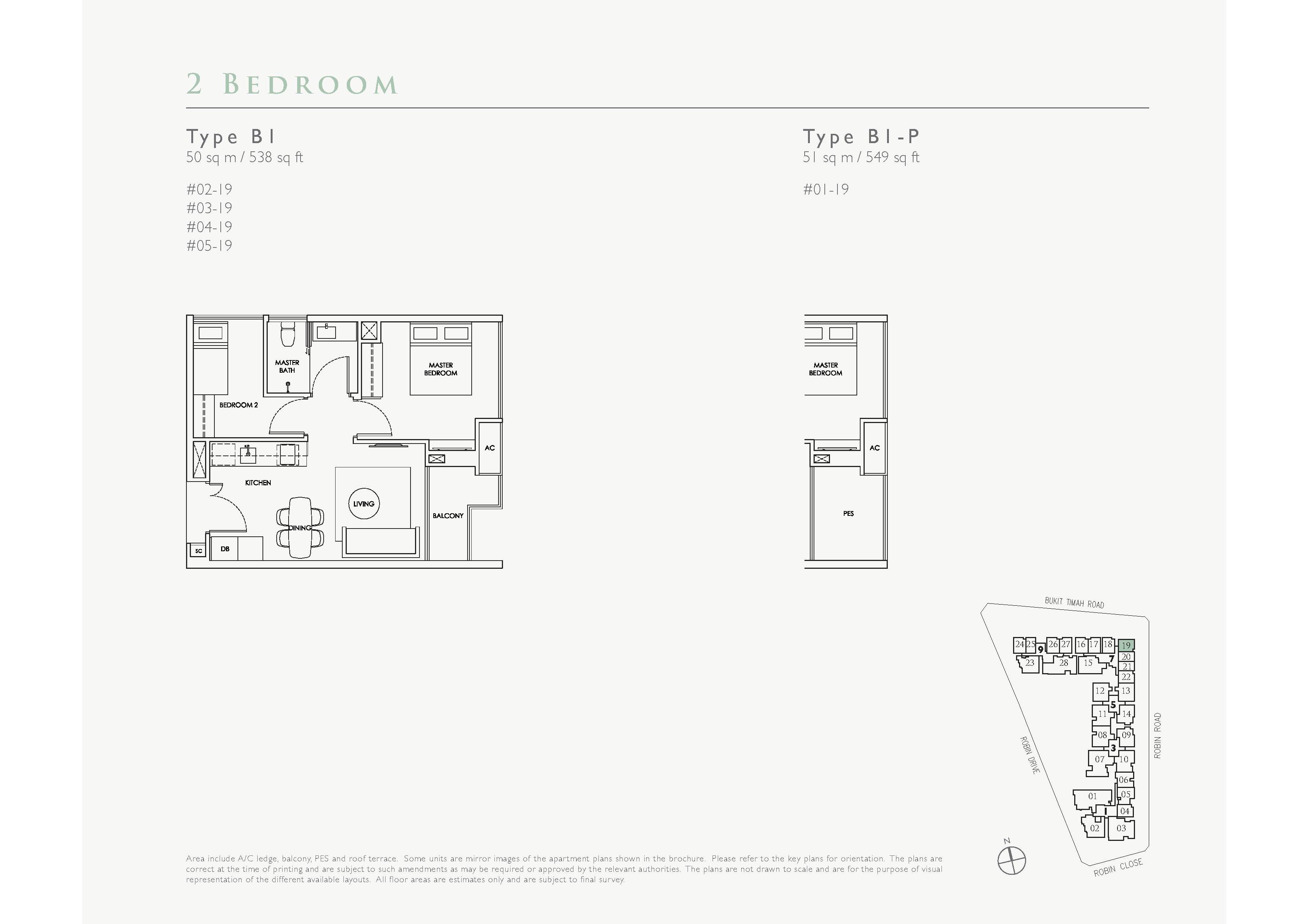 Robin Residences 2 Bedroom Floor Plans Type B1, B1-P