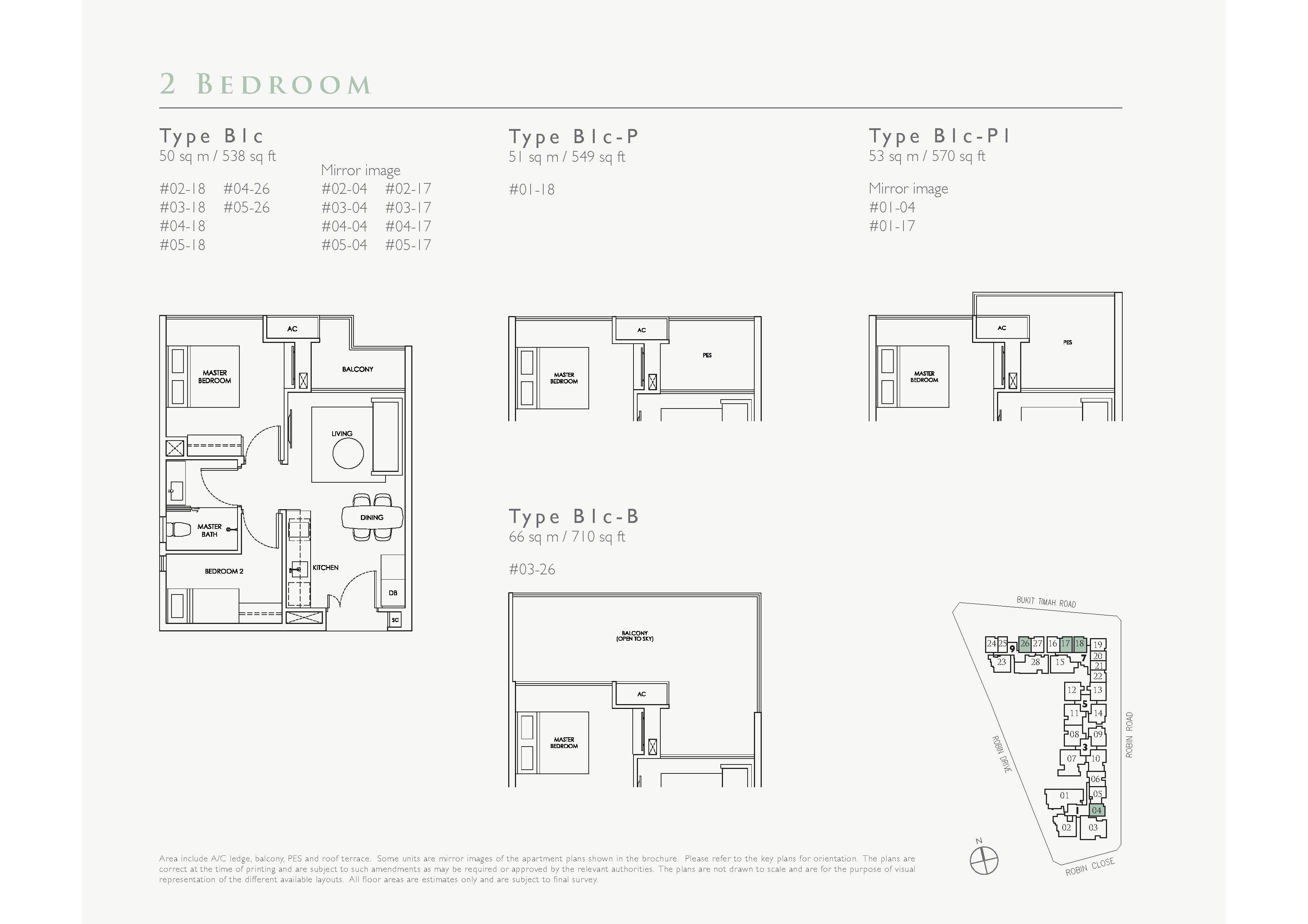 Robin Residences 2 Bedroom Floor Plans Type B1c, B1c-P, B1c-P1, B1c-B