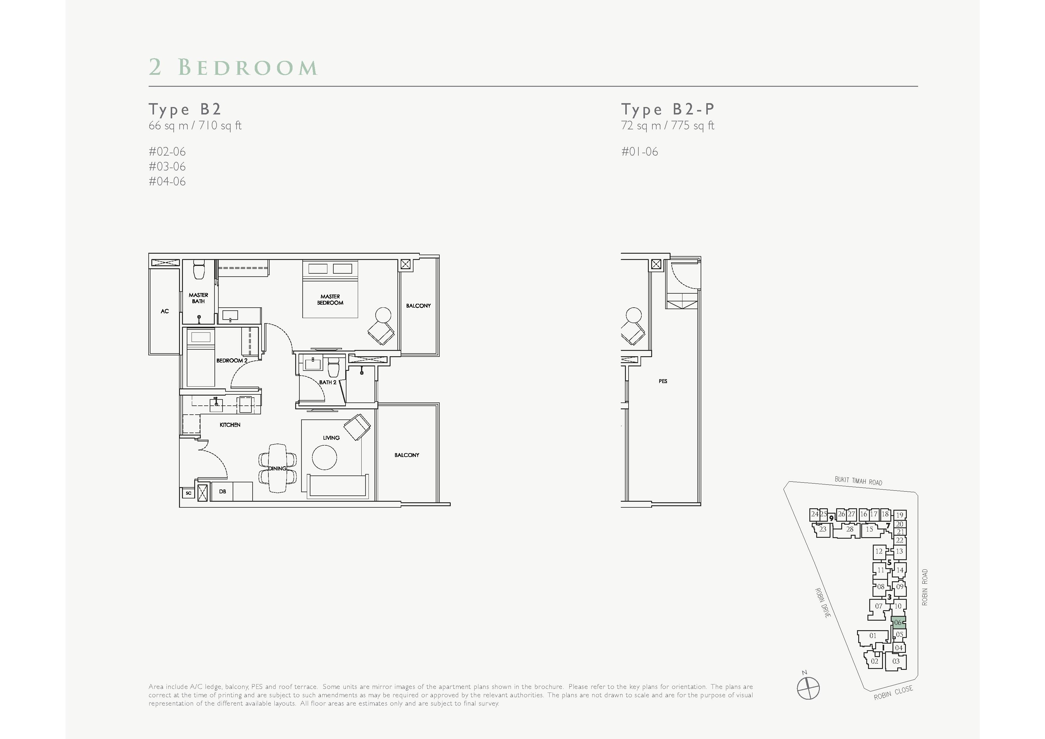 Robin Residences 2 Bedroom Floor Plans Type B2, B2-P