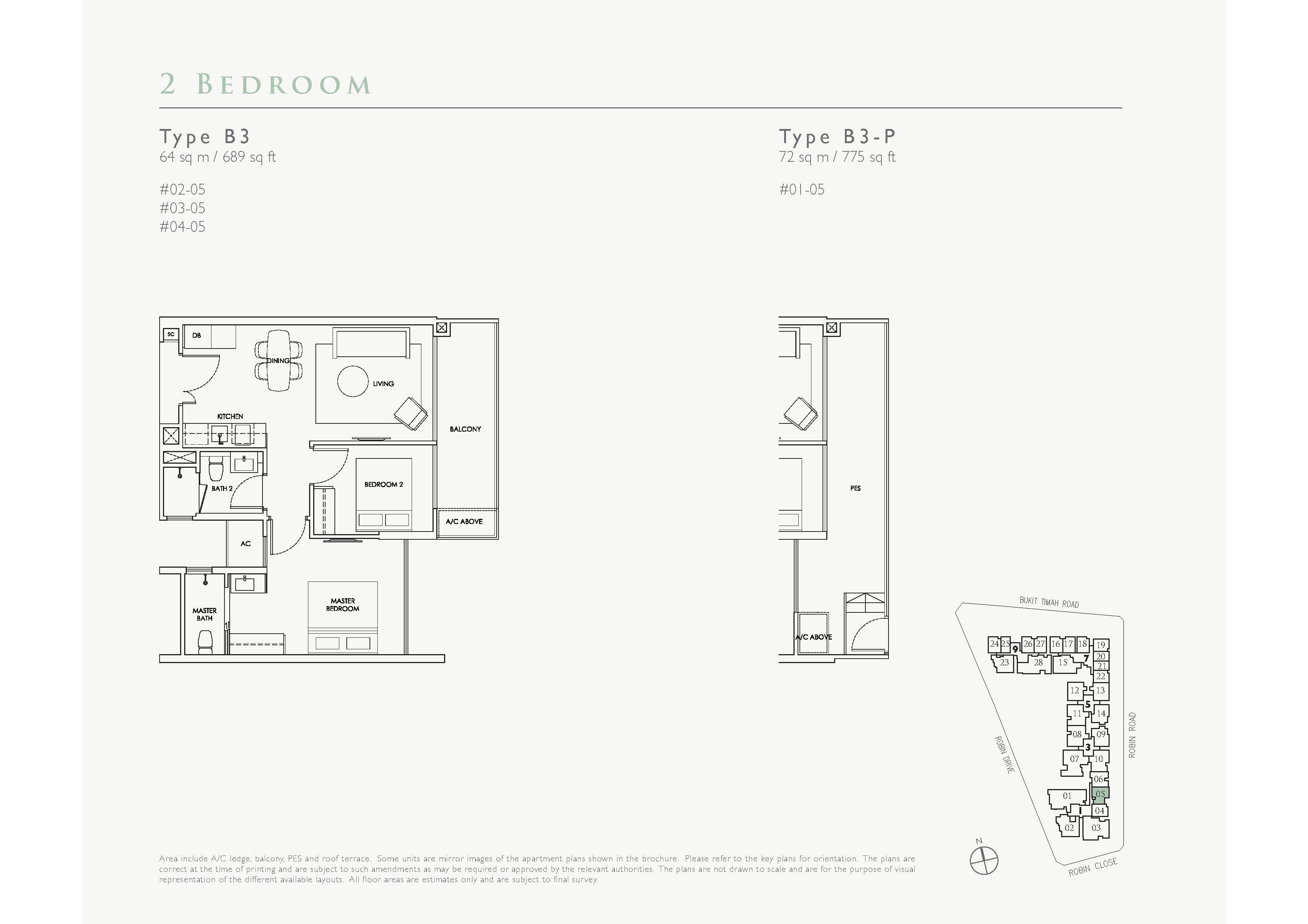 Robin Residences 2 Bedroom Floor Plans Type B3, B3-P