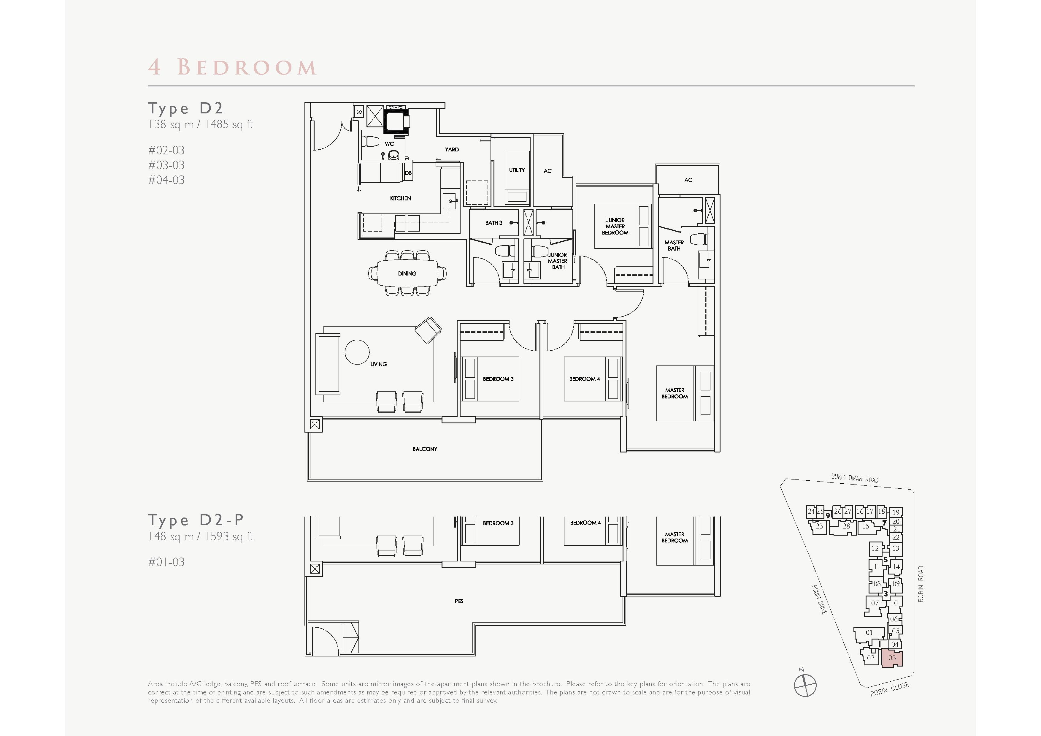 Robin Residences 4 Bedroom Floor Plans Type D2, D2-P