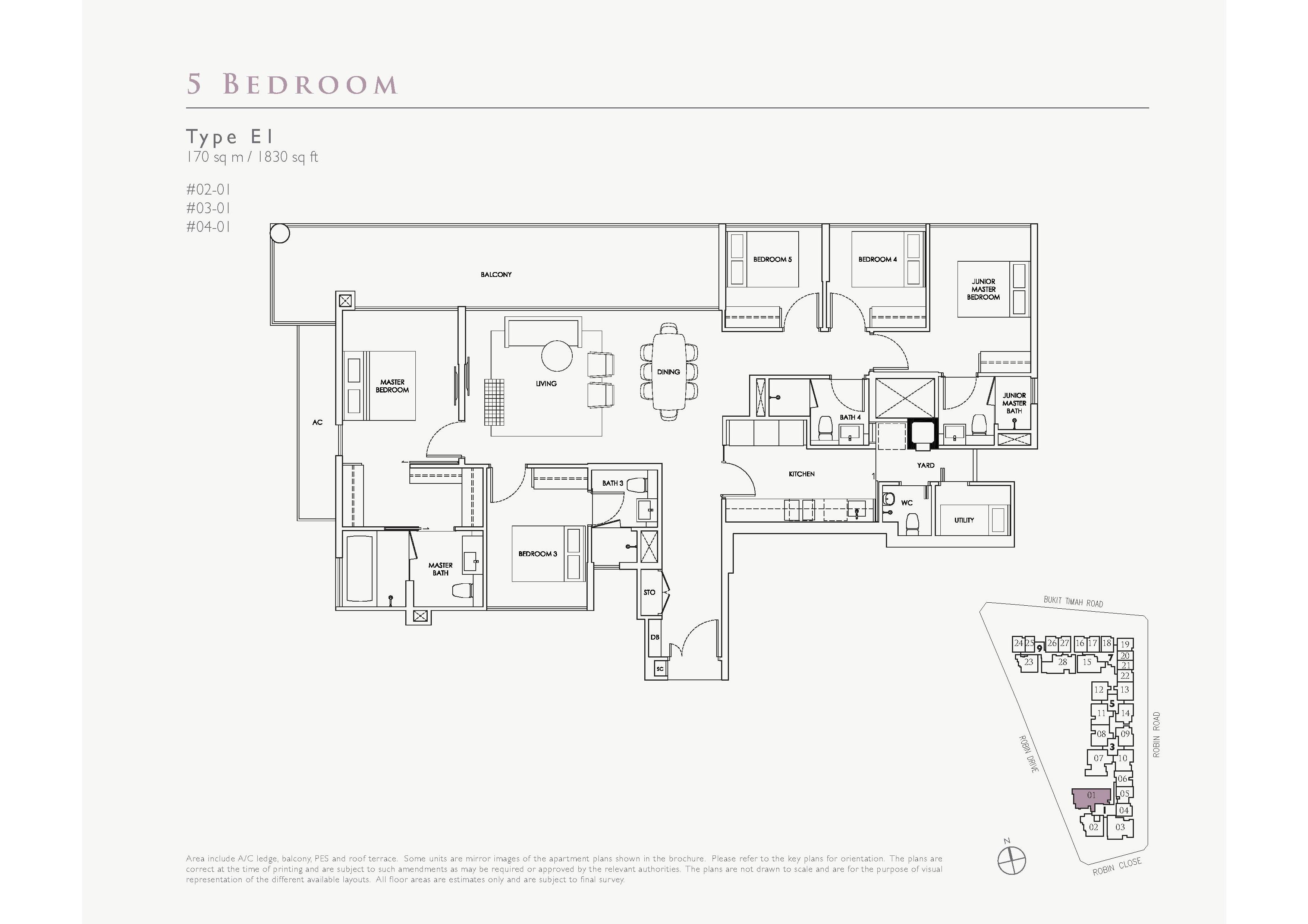 Robin Residences 5 Bedroom Floor Plans Type E1